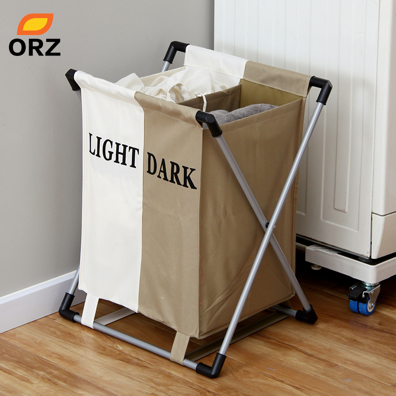 ORZ Fashional Laundry Basket Foldable Thick Oxford Formwork Two Grid Storage Basket Box Bathroom Rack Clothes OrganizerORZ Fashional Laundry Basket Foldable Thick Oxford Formwork Two Grid Storage Basket Box Bathroom Rack Clothes Organizer