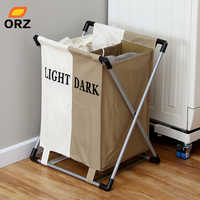 ORZ Fashional Laundry Basket Foldable Thick Oxford Formwork Two Grid Storage Basket Box Bathroom Rack Clothes Organizer