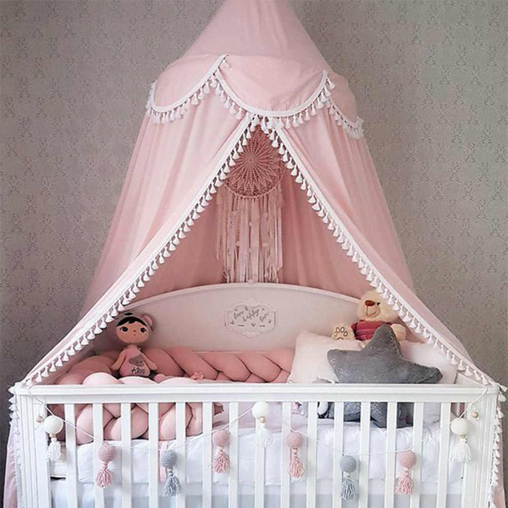 Tassel Mosquito Net Baby Bed Canopy Bedhemel PomPom Cotton Girls Room Decor Baldachin Kids Canopy Bed Curtains BabyCamping Bed