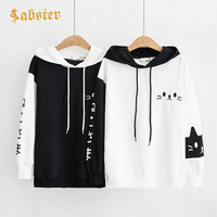 2018 Kawaii Harajuku Women Hoodies Sweatshirt Female Cartoon Rabbit Ears Hooded L Sleeve Sweatshirt Female Pullover XZ441
