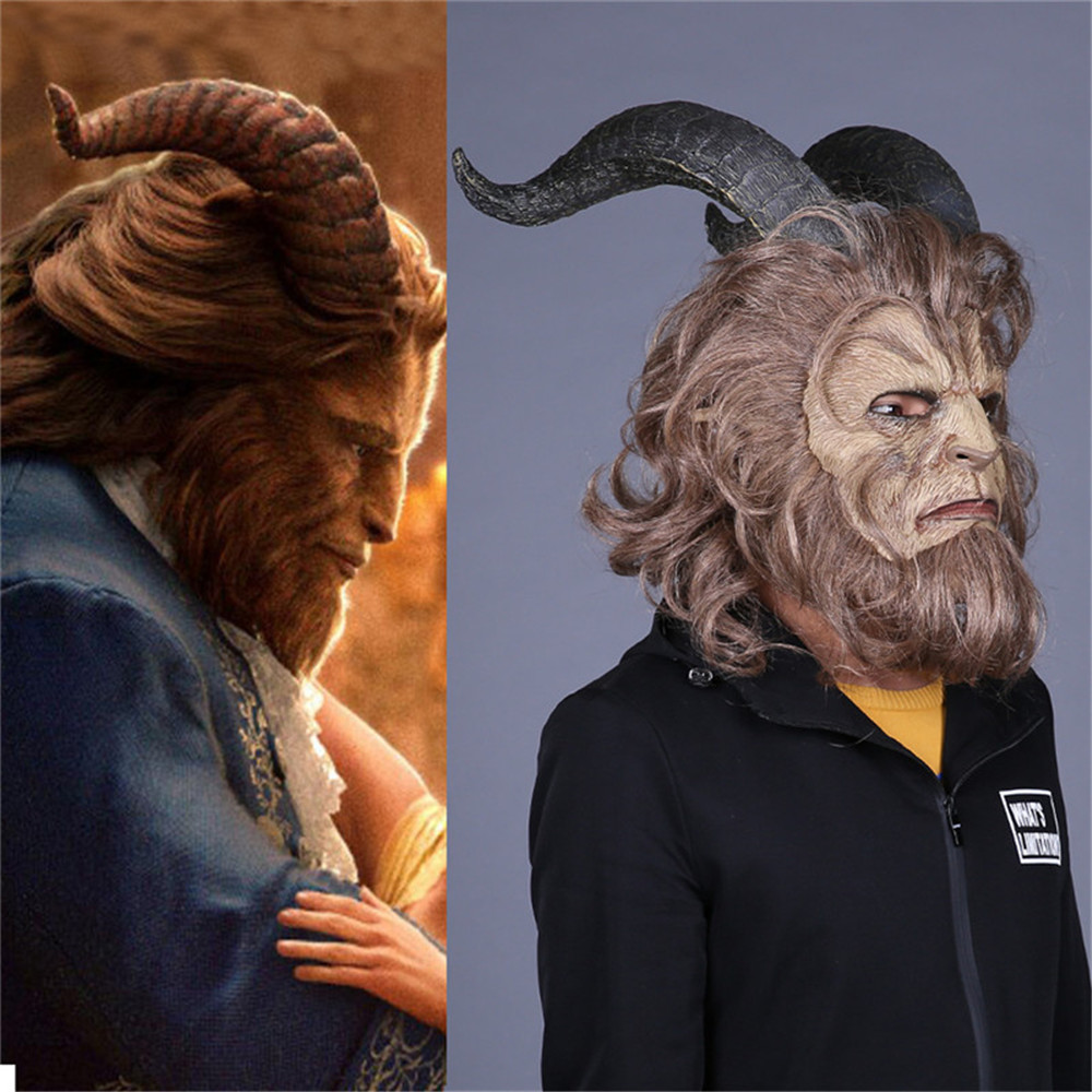 2018 Purim Hot Movie Beauty and the Beast Adam Beast Prince Mask Cosplay Horror Mask Latex Lion Helmet Halloween adult/men Party