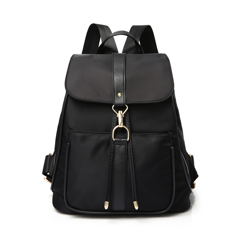 New High Quality Waterproof Nylon Brand Women Backpack Fashion Girls School Bag Travel Bag with Pu Leather Shoulder Straps Black 2016 high quality fashion new women backpack pu leather ladies shoulder bag college frosted backpack wild simple mini school bag