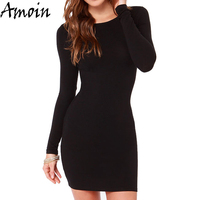Amoin Cute Women Fashion Little Black Dress New 2016 Autumn Winter Sexy Casual Vestidos Long Sleeve