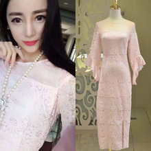 Europe in the spring of 2016 women's temperament ladies thin horn sleeve lace dress fashion slim 118
