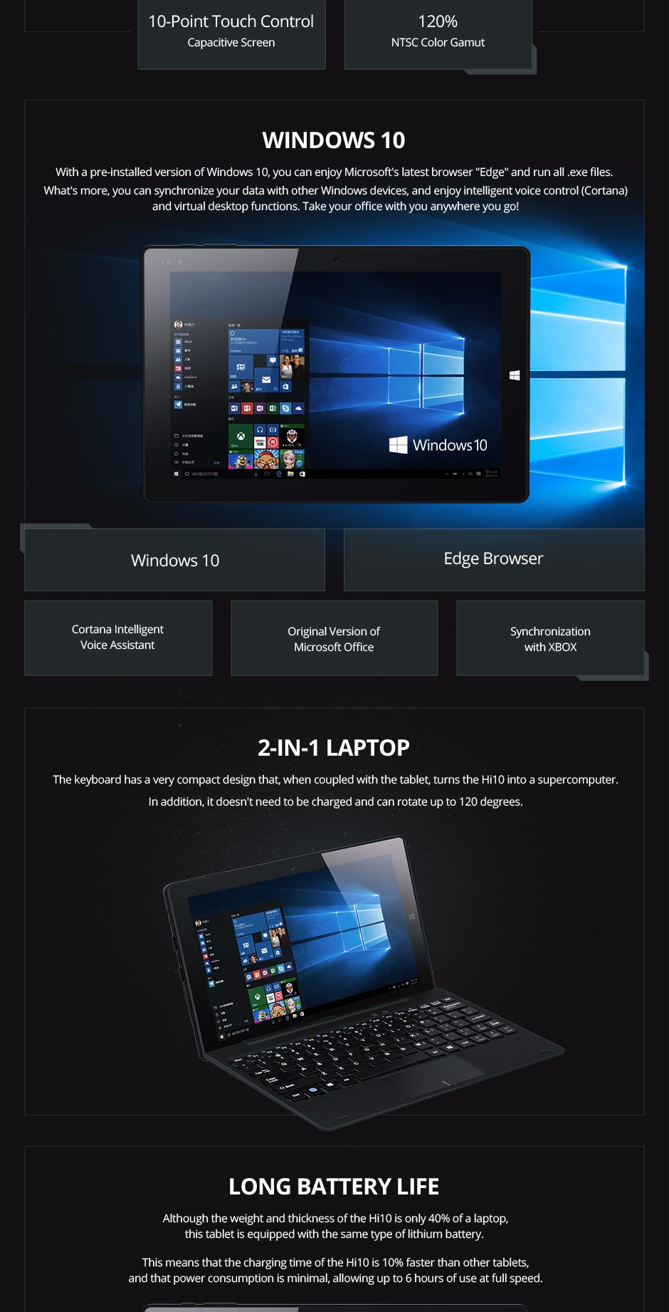 CHUWI HI10 WINDOWS 10 TABLET PC INTEL ATOM CHERRY TRAIL Z8300 8