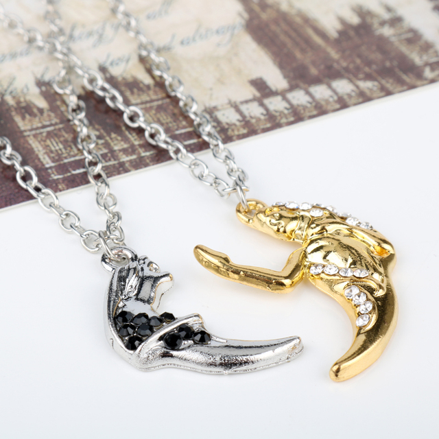 New design 2pcs beauty and the beast necklaces couples fashion new design 2pcs beauty and the beast necklaces couples fashion crystal pendant necklace jewelry couple gift aloadofball Images
