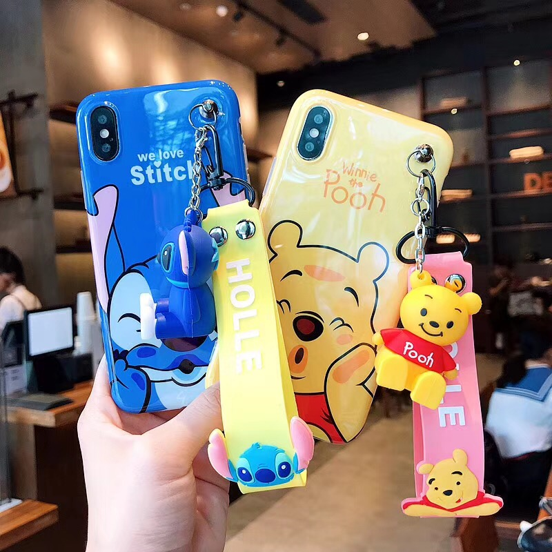 Schöne Mickey Minnie Telefon Fall für iPhone XS Max XR Fall für iPhone X 6 6 s 7 8 Plus winnie Stich Weiche Abdeckung Stand Fall Lanyard