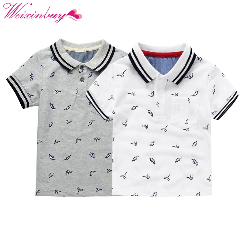 2-7Y Childrens Clothing Fashion Animal Boys T-shirts Cotton Kids Tops Sports Tee Turn-down Collar Boys Polo Shirts