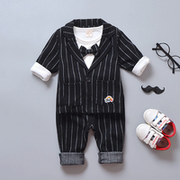Retail!Kids clothes boys Spring Autumn Gentelman 3pcs Clothing sets Strip Coat +Bow Tie Tshirt+Strip pants for Baby boys girls