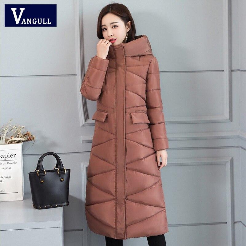 Vangull, новинка, большие размеры, 3XL, парки, 2019, модное женское зимнее пальто, длинная, тонкая, утепленная, теплая куртка, пуховики с хлопковой подкладкой, куртки, верхняя одежда