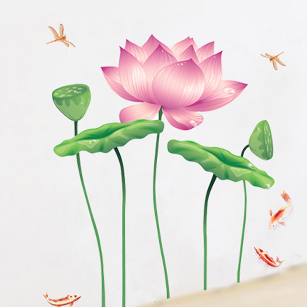 6090cm Chinese Lotus Flower Wall Sticker 0263 Decals Removable