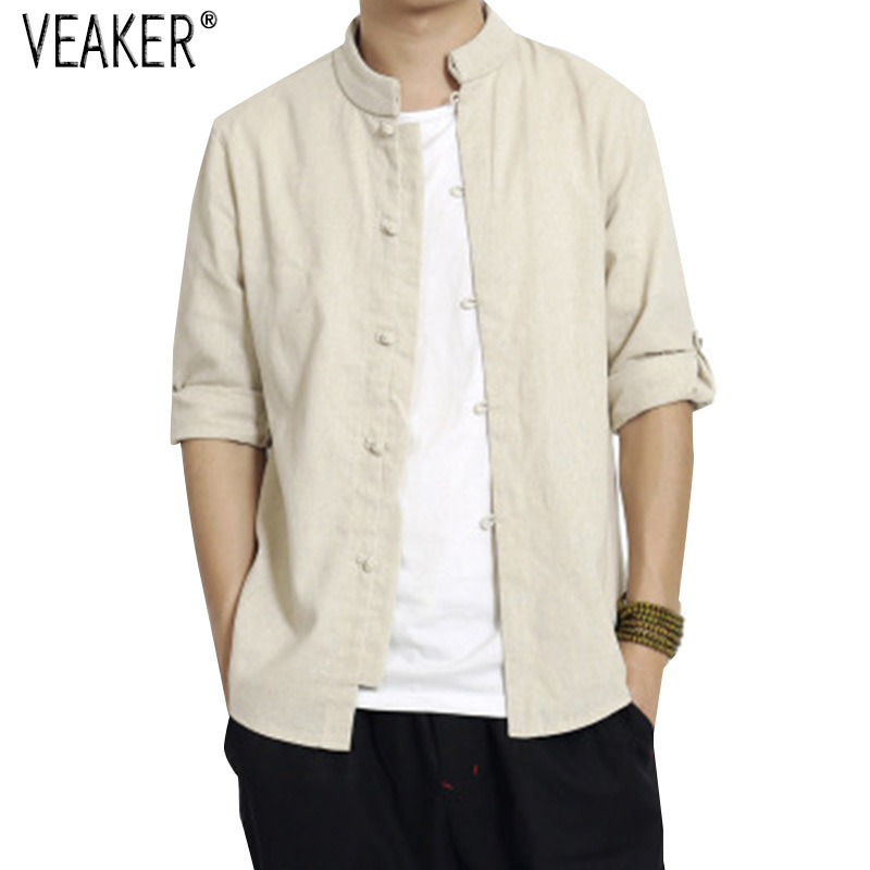 2019 Autumn Men's Cotton Linen Shirts Chinese Style Male Vintage Half Sleeve Loose Linen Shirt Solid Color Tops Shirt 5XL