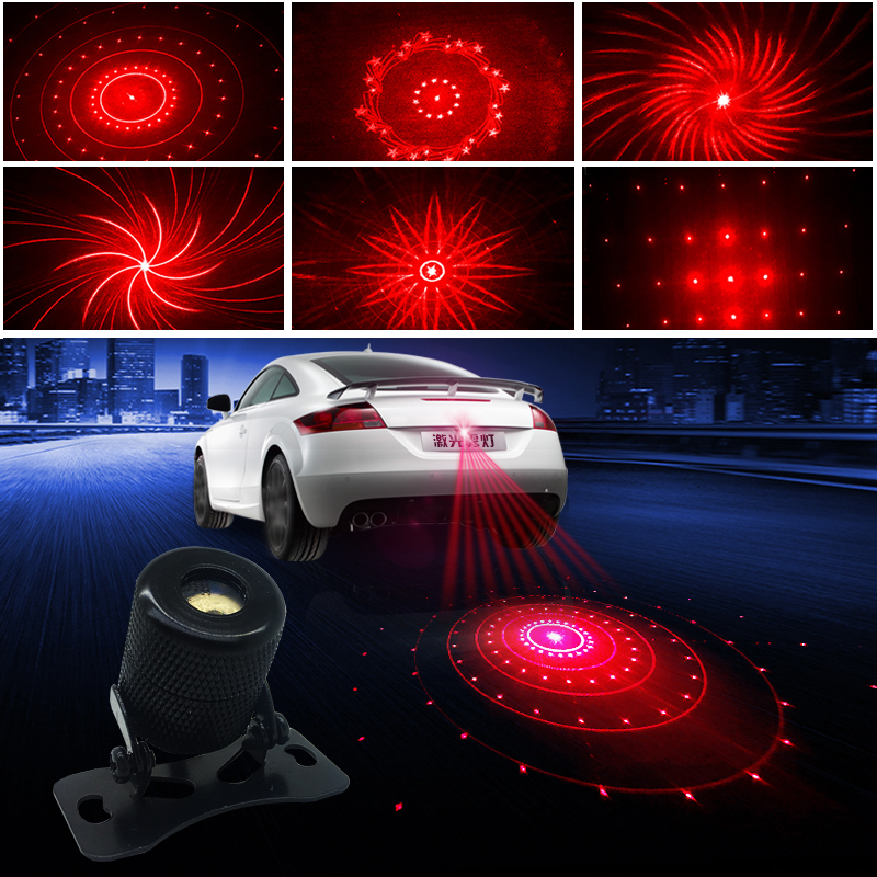 цена на Car Anti-collision Laser Fog Light Auto Parking Stop Braking Signal Indicators Motorcycle LED Warning Light Decorative lights