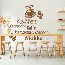 Art design home decoration waterproof PVC wall sticker creative words vinyl coffee kitchen decor decals for bar or shop