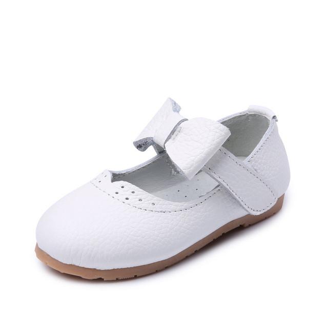 2016 Crianças Sapatos Da Moda Couro Liso Menina Sapatos de Desconto Novo Estilo de Couro Genuíno Macio Skid-Prova da Primavera Outono sapato