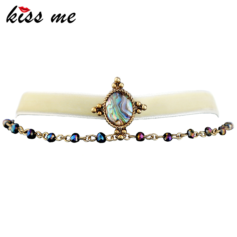 KISS ME Double Chains White Velvet Choker Necklace Mixed-Color Brand Party Jewelry Women Bijoux 2017