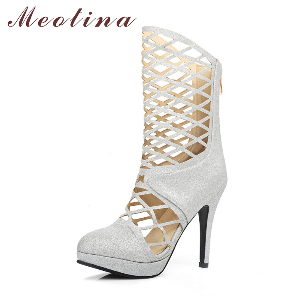 цены на Meotina Women Boots Autumn Platform High Heel Boots Cut Outs Mid Calf Boots Sexy High Heels Gladiator Shoes Red Sliver 34-43 в интернет-магазинах