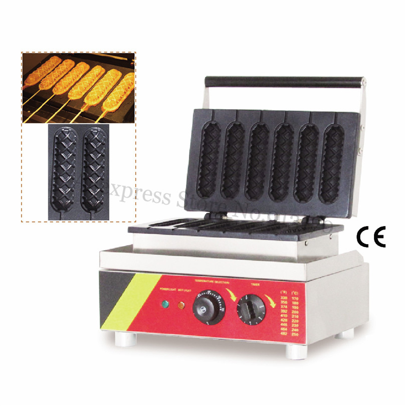 Electric Sausage Hot Dog Waffle Machine Lolly Waffle Hotdog Maker Machine Six Molds 220V 110V 527 lolly waffle baker commercial snack machine stainless steel tower shaped lolly waffle machine with six pcs lolly waffle moulds