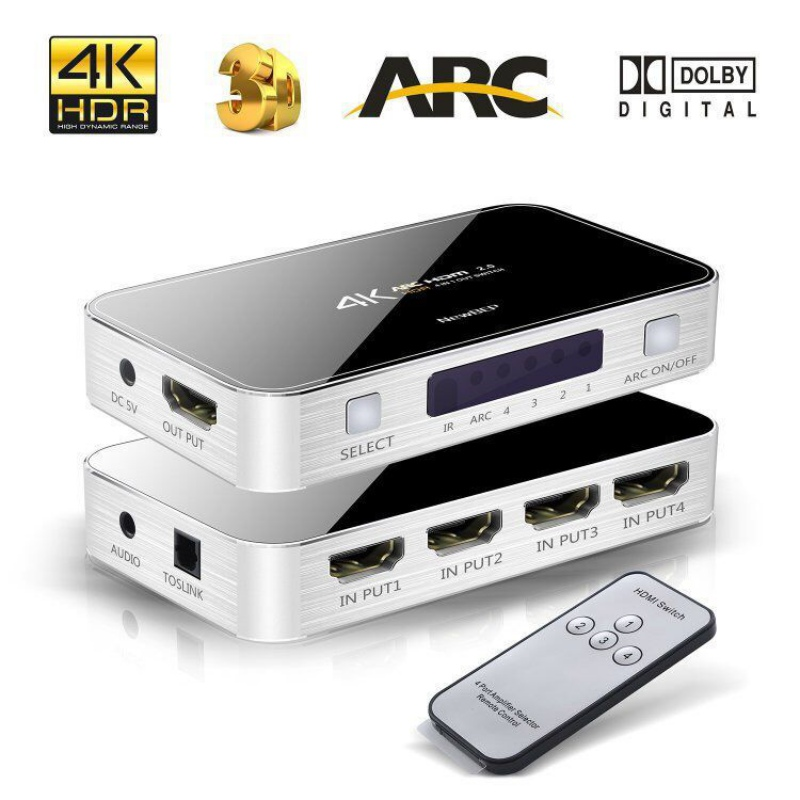 HDMI 2.0 Adapter Switch Splitter Switch Box 4x1 Supports 4K 60Hz 1080P and 3D with IR Wireless Remote HDMI Converter