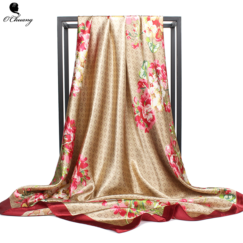 Fashion <font><b>Silk</b></font> <font><b>Scarf</b></font> Women Flower Print Large Luxury Brand Wraps Shawls Head Foulard Soie Square <font><b>Scarves</b></font> Ladies Accessories <font><b>90X90</b></font> image