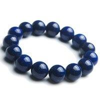 Genuine Natural Lapis Lazuli Women Men Powerful Stretch Charm Round Crystal Bead Bracelet Just One 14mm