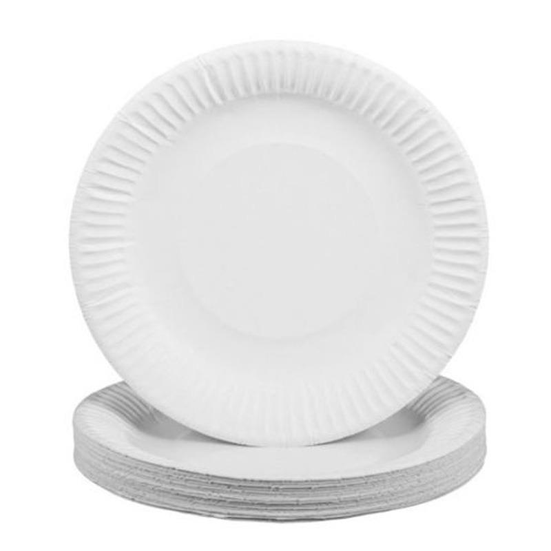 New White Disposable Paper Plates Perfect For Bbq And Parties 20-100pcs