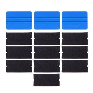 Image 1 - Foshio 10 pçs filme de vinil envoltório do carro feltro tecido + 3pcs fibra carbono rodo raspador para limpeza janela matiz ferramentas de envolvimento automático