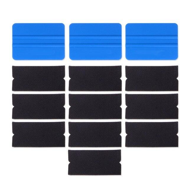 Foshio 10 pçs filme de vinil envoltório do carro feltro tecido + 3pcs fibra carbono rodo raspador para limpeza janela matiz ferramentas de envolvimento automático