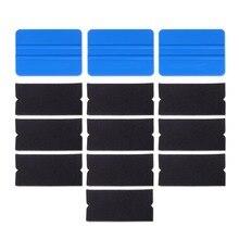 Foshio 10 pcs 비닐 필름 자동차 랩 펠트 패브릭 + 3pcs 탄소 섬유 스퀴지 스크레이퍼 청소 창 색조 자동 포장 도구
