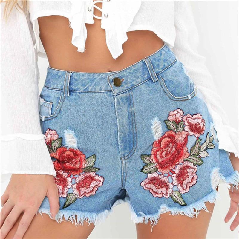 2017 Summer New Korean Women Thin Beaded High Waist   Shorts   Denim   Shorts   for Women Skinny Plus Jeans   Short