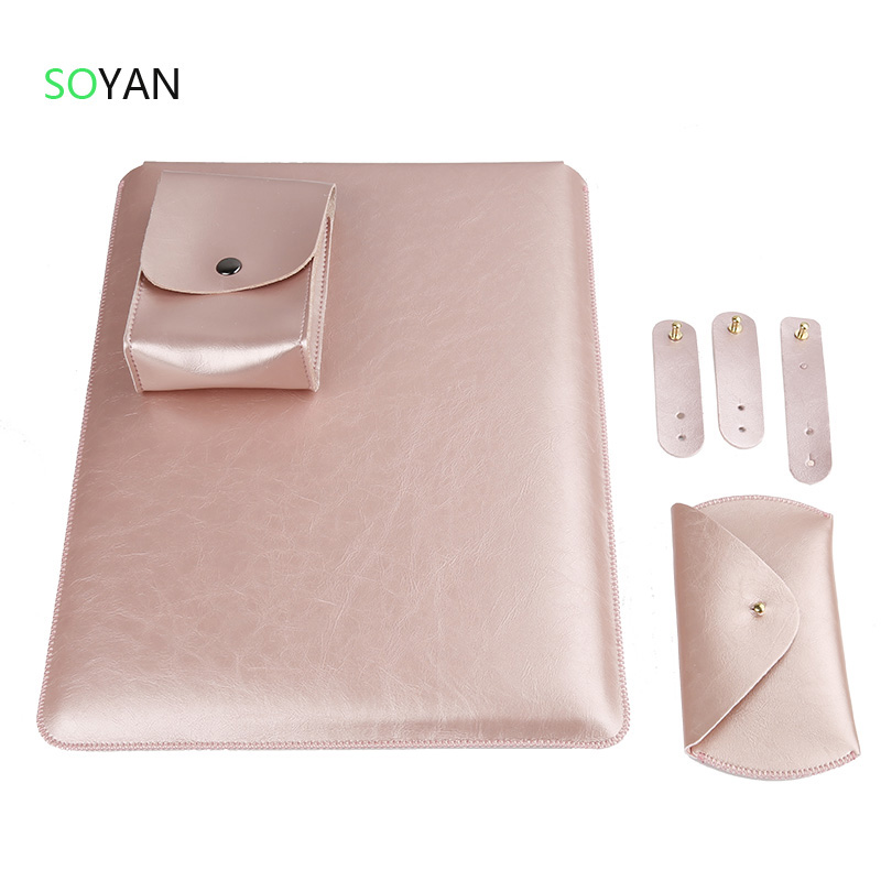Laptop Sleeve Case Pouch Charger Bag Mouse Case 3st Cable Winder Leather Cover voor Macbook Air 13 Pro 13 15 inch laptoptas