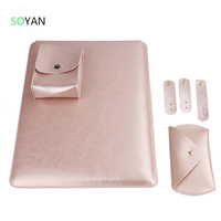 Laptop Sleeve Case Pouch Charger Bag Mouse Case 3pcs Cable Winder Leather Cover For Macbook