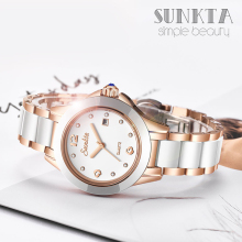 SUNKTA Rose Gold Women Watches Quartz Ladies Watch Top Brand Luxury Stainless Steel Female Wrist Watch Fashion Rhinestone Clock mige real top brand luxury casual fashion ladies watches white leather rose gold case female clock quartz waterproof women watch