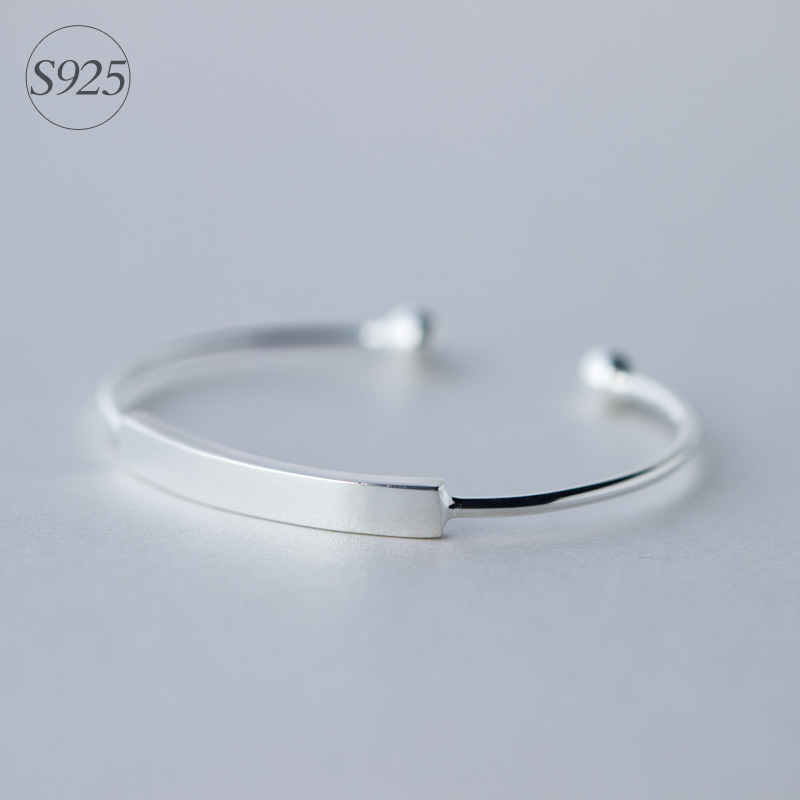 Simple design Genuine 925 Sterling Silver Double Round Ball Polished Bangle Bracelet Cuff Adjustable Size LS165