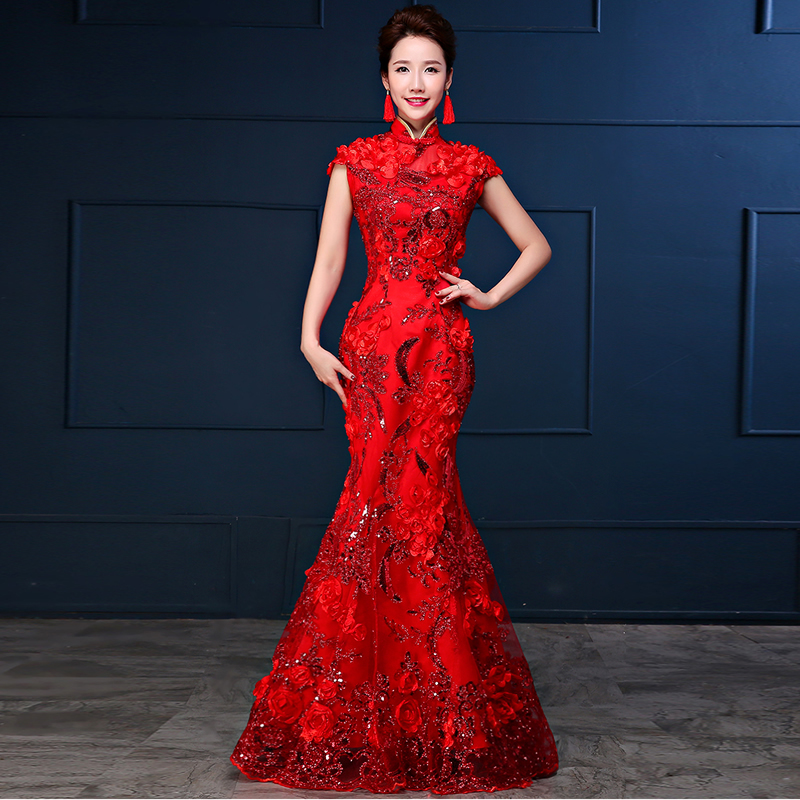 Luxury Red 3d Strapless Evening Dress Mermaid Gown Chinese