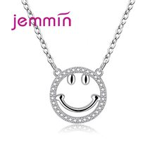 Delicate Smile Head Necklace Pendant Hip Hop Crystal 925 Sterling Silver 18 Inch Chain Necklaces for Men Women Jewelry Free Ship(China)