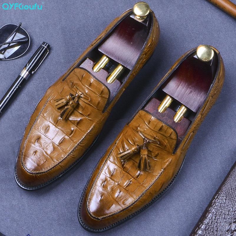 QYFCIOUFU High Quality Genuine Cow Leather Loafers Shoes Men Crocodile Pattern Flats Tassel Formal Dress