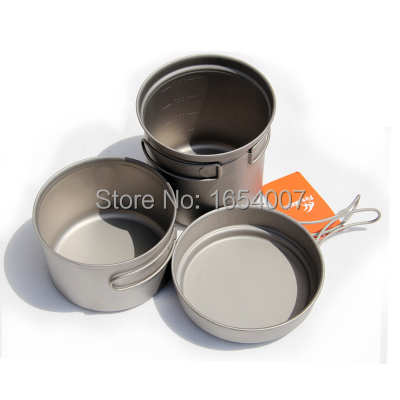 ФОТО Fire Maple Titanium Camping Cooking Set 2-3 Persons (Frying Pan+Shallow Pan+Deep Pan) Pot Sets Camp Cookware Outdoor Cutlery