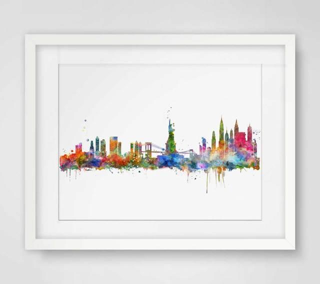 New York City Skyline Watercolor Poster NY City Map Skyline Art ...