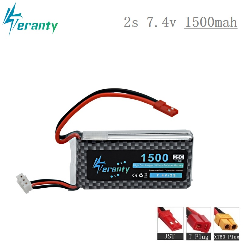 High Rate 7.4V 1500mAh Lipo Battery For RC Helicopter Parts 2s Lithium Battery 7.4 V Battery Airplanes 2s 25C Battery RC Car/Gun