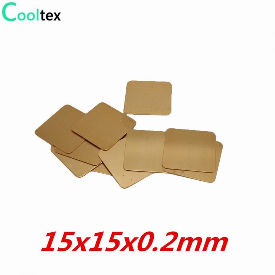 все цены на 20pcs/lot 15x15x0.2mm DIY Copper  Heatsink Heat Sink Shim Sheet Thermal Pad For Laptop GPU CPU VGA Chip RAM