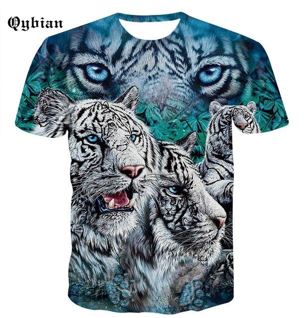 Qybian Merek T-shirt Harimau Sengit Fashion Baju Kaos Pakaian Punk Trendi  Atasan Pria 3D 35664ec55c