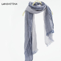 High Quality Size 190cm X 80cm Literature Stripe Cotton Multicolor And Linen NEW Arrived Women Cotton