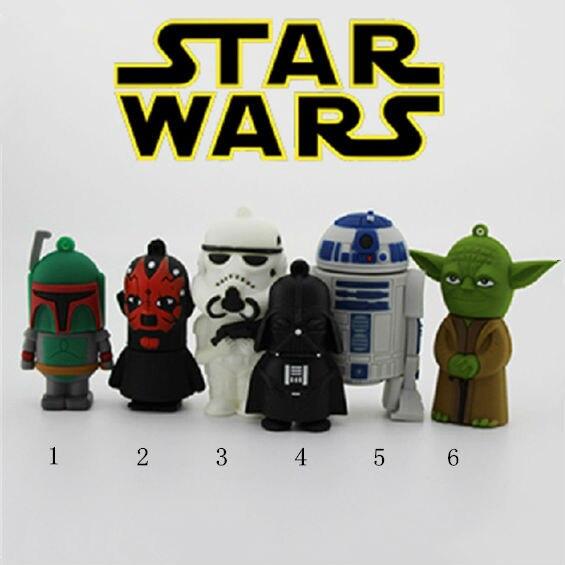 Pen Drive Star War Darth Vader 64GB Rubber USB 32GB 512GB Flash 2.0 Memory Drive Sticks Disk R2 D2 Robot Gift Card Creativo Key