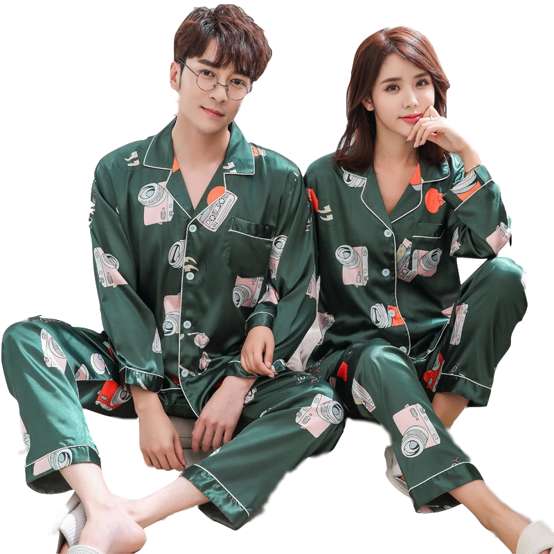 Pajamas Sets Women Print Soft Silk Men Long Sleeve Sleepwear Suit 2 piece Sexy Spring Home Couple Lounge Gift