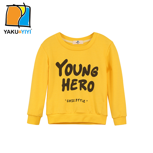 YKYY YAKUYIYI Solid Yellow Girls Sweatshirt Letter Print Baby Girls Pullover Tops Long Sleeve Children Sweatshirt Girls Clothing