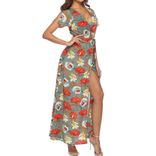 Women Retro Sexy Dress Floral Print Beach Summer Dress Short Sleeve Sashes High Split Maxi V-Neck Dress Ladies New Long Dress