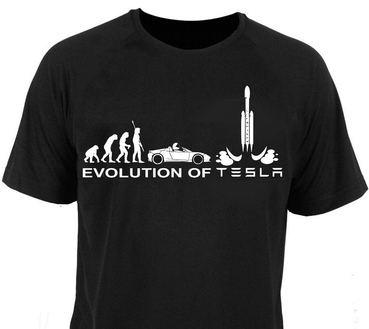 T <font><b>Shirt</b></font> T <font><b>Shirt</b></font> Evolution Of Tesla Falcon Spacex Model S X 3 Roadster <font><b>Parody</b></font> New Short Sleeve Round Collar Short Sleeve image
