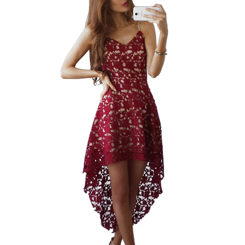 Hollow Out Ladies Elegant Lace Dresses Sheer Mesh Womens Boho Summer Dress 2018 Spaghetti Strap Backless Slip Dress Floral Robes