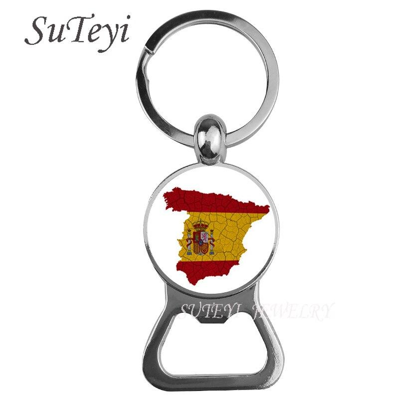 Модные Для мужчин автомобиля Стекло кабошон брелок Испания/Греция/Венгрия флаг открывалка для бутылок пива кольцо для ключей изделия сумка...